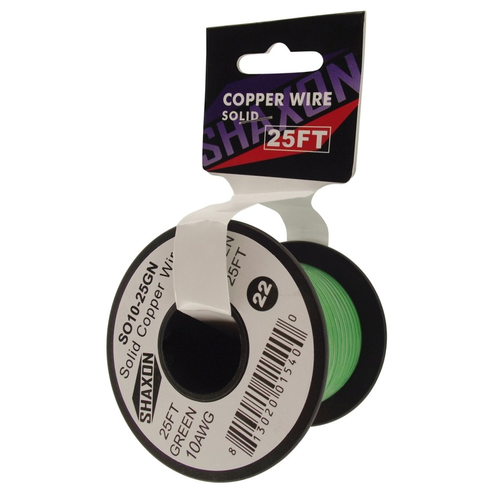 Shaxon SO10-25GN Solid Copper Wire on Spool, 25-Feet, Green