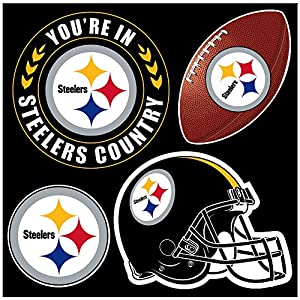 NFL Pittsburgh Steelers Unisex NFL 4Piece Magnet Set, black, One Size from SteelerMania