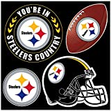 NFL Pittsburgh Steelers Unisex NFL 4Piece Magnet Set, black, One Size