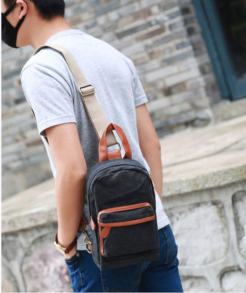 XING YI CHUAN MEI Korean Version of The Trend of Mens Chest Bag Student Canvas Mens Bag Japan and South Korea Sports and Leisure Messenger Bag Personality Small Backpack