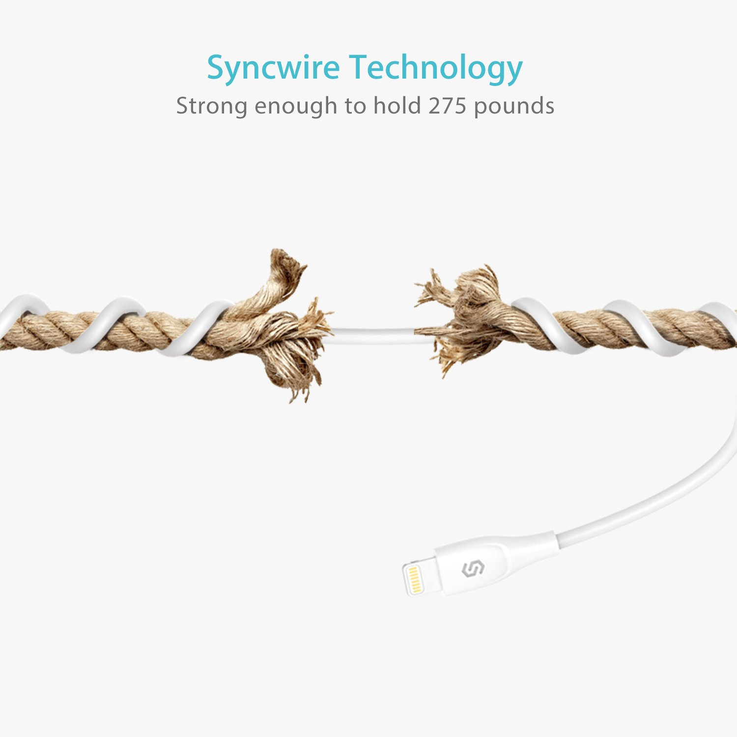 iPhone Charger Syncwire Lightning Cable - [Apple MFi Certified] UNBREAKcable Series for iPhone X, 8, 8 Plus, 7, 7 Plus, 6S, 6S Plus, 6, 6 Plus, SE, 5S, 5C, 5, iPad Mini, iPad Air, Pro - 3.3ft White by Syncwire (Image #7)