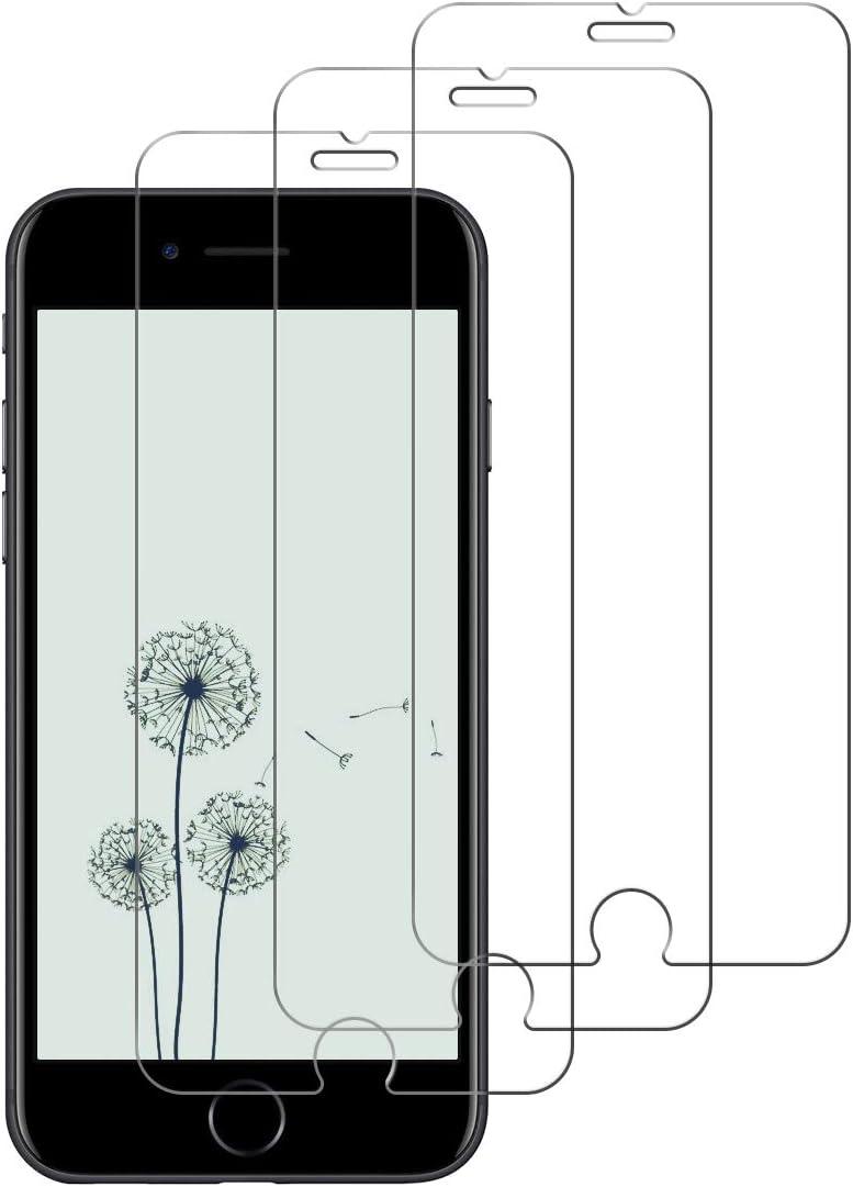 [3 Unidades] Protector de Pantalla para iPhone 7 / iPhone 8/iPhone 6/iPhone 6s,Cristal Templado para iPhone 7/8/6/6s Alta Definicion,9H Dureza,Sin Burbujas - Transparente