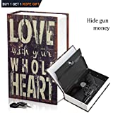 WishAcc Dictionary Secret Book Hidden Safe with Key Lock Book Safe Love Style Full Size 9.4 x 6.1 x 2 .2inches