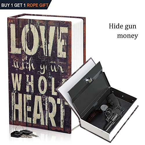 HENGSHENG Dictionary Secret Book Hidden Safe With Key Lock Book Safe Love Style Full Size 94 x 61 x 2 2inches