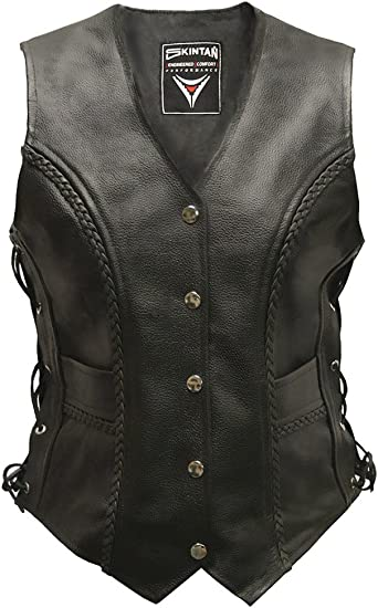 Womens Texpeed Leather Motorcycle Waistcoat Cut With Laced Sides /& Pockets
