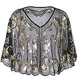 #3: PrettyGuide Women's Evening Cape Sequin Deco Paisley 1920s Shawl Flapper Cover up