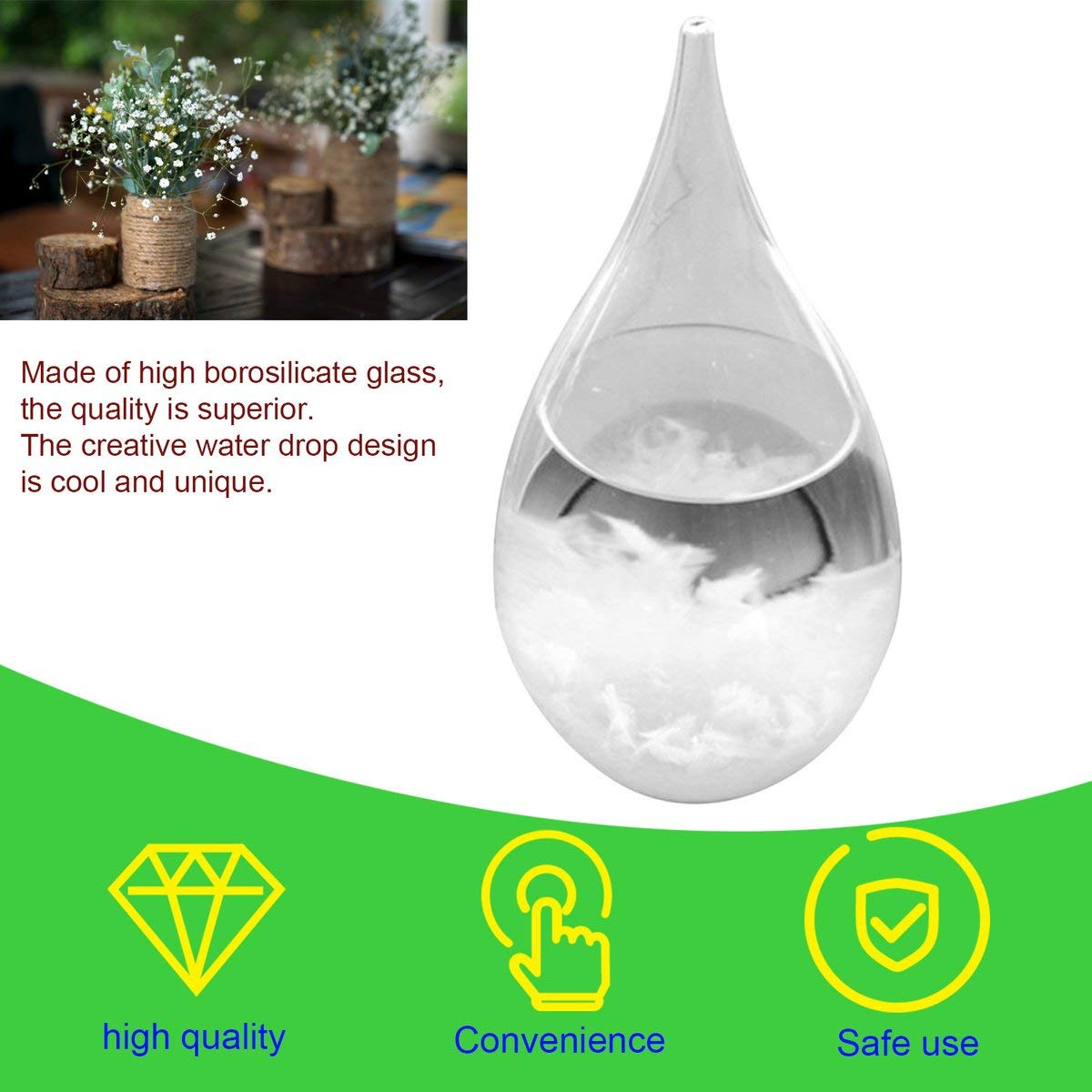 Greatangle Mini Desktop Droplet Storm Glass Water Drop Weather Storm Forecast Predictor Monitor Bottle Barometer Creative Home Decor