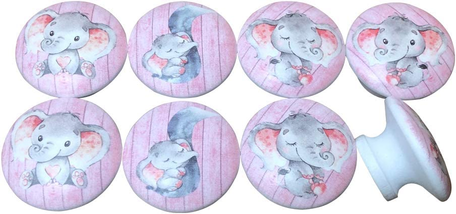 Set of 8 Pink Elephant Nursery Cabinet Knobs