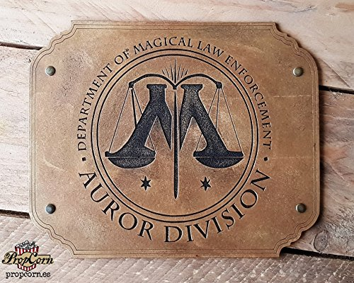 Harry Potter AUROR DIVISION Wood Sign. Join the Magic Law and fight the Deatheaters. Made of Wood and Hand painted and aged for a movie look