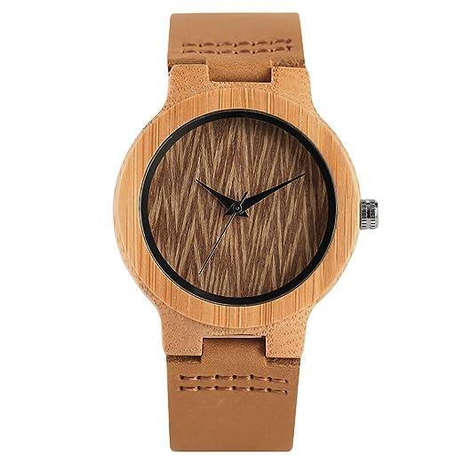 Reloj de Madera para Mujer, Esfera de Grabado de árbol, Reloj de Madera para niñas, Reloj de Pulsera de Madera para Mujer: Amazon.es: Relojes