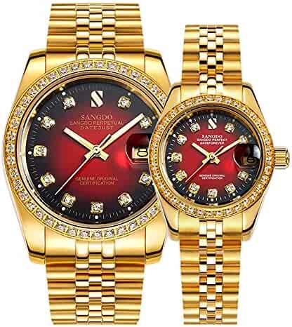 4b22d8daba6 Full Gold Couple Watches Automatic Mechanical Gilded Steel Self-wind  Sapphire Glass Dress Watches Gift