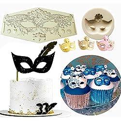 (Set of 2) Sakolla Masquerade Mask Cake Decoration Cupcake Masquerade Mask Fondant Mold for Sugar Cupcake decorating Topper Masquerade Ball Party Supplies