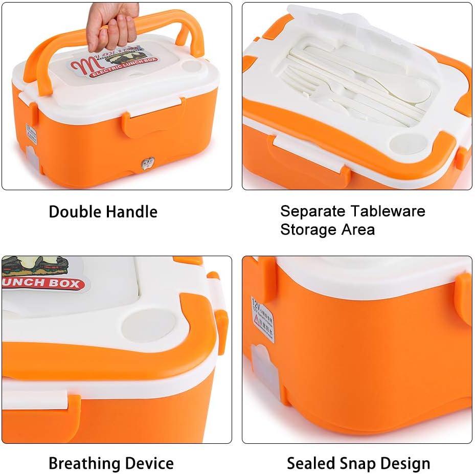 12V-Orange Riscaldamento Lunch Box 45W Scatola Pranzo Riscaldamento Elettrico Dellautomobile 1.5L Stufa Pranzo Portatile Contenitore Scaldavivande Con Scatola Principale Piccolo Piatto Coppia