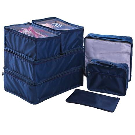 Ewparts 7 unidades bolsas impermeables nylon organizador de viajes, organizador de maletas (Dark blue