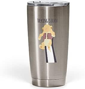 مصد الصدمات فضي Lion King is born Silver Stainless Steel Tumbler with Clear Acrylic Lid