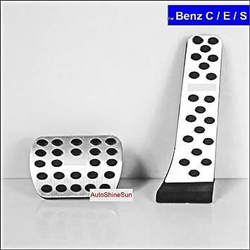 SZSS-CAR Car New Aluminium Alloy Fuel Petrol Clutch Fuel Brake Braking Pad Foot Pedals Rest Plate Set for Mercedes Benz A B C E S GLA GLC GLK CLS 2007-2017 Pedals with M Logo Non-Drilling