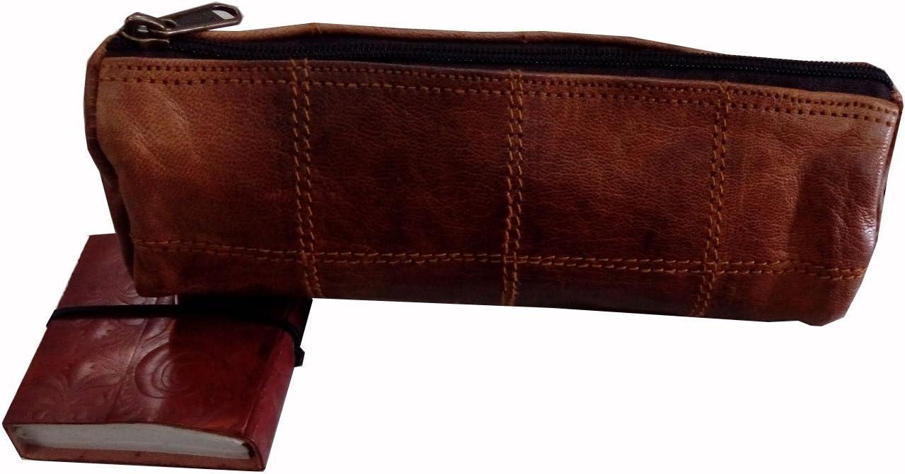 "Gbag (T)""Felix"" Genuine Leather Stationery Pencil Pen Case Art Pouch Office Uni College Smart Everyday Vintage Unisex Brown P6"