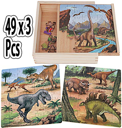 Sealive Dinosaur Jigsaw Puzzles in a Box, Wooden Blocks Toddler Games Construction Toys, 49 x 3 Pieces Dinosaur Train Activity Cube, Jurassic World Toys Dino Floor Puzzles for Kids Ages 4-8