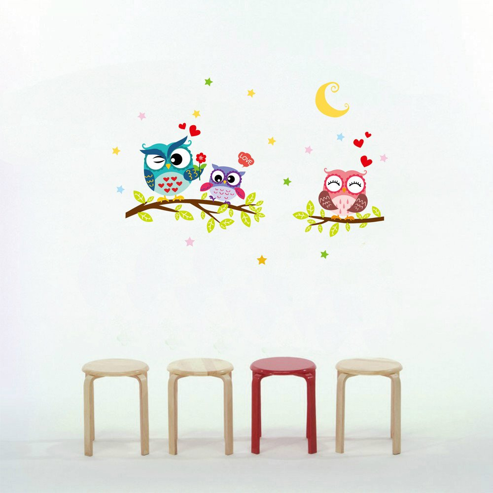 Cartoon Forest Animal Owl Wall Stickers Murals, Stars Moon Tree Nursery Wall Stickers DIY Posters, Vinyl Removable Art Wall Decals for Kids Room (Multicolor)