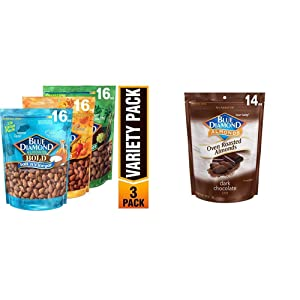 Blue Diamond Almonds Bold Favorites Variety Pack - Salt 'n Vinegar, Habanero BBQ, & Wasabi & Soy Sauce, Bold Variety Pack, 16 Ounce (Pack of 3) & Oven Roasted Cocoa Dusted Almonds, 14 Ounce