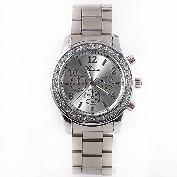 Angelo Caro-Reloj de Pulsera de Cuarzo para Mujer Metal Aleacion (Plateado)