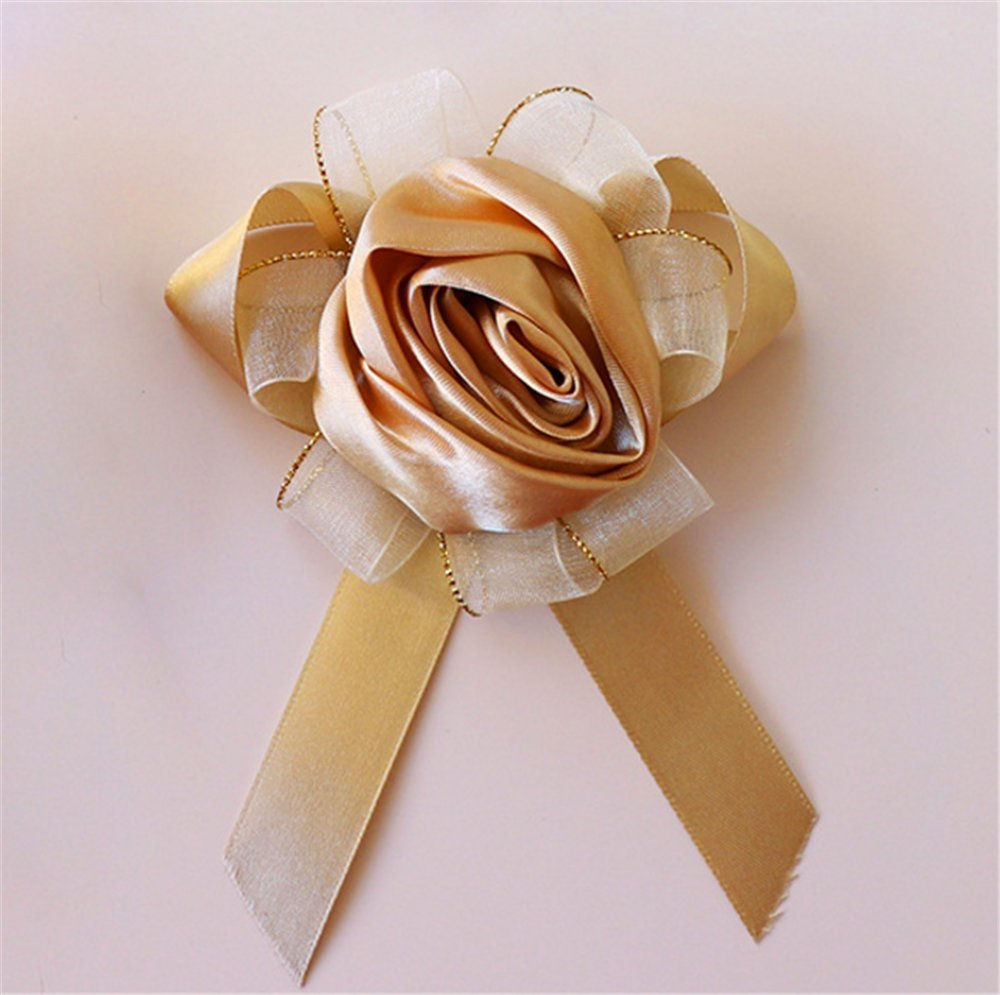 Champagne-Open-Rose-Ribbon-Stretch-Bracelet-Wedding-Prom-Wrist-Corsage-Hand-Flower-Pack-Of-4-Gold