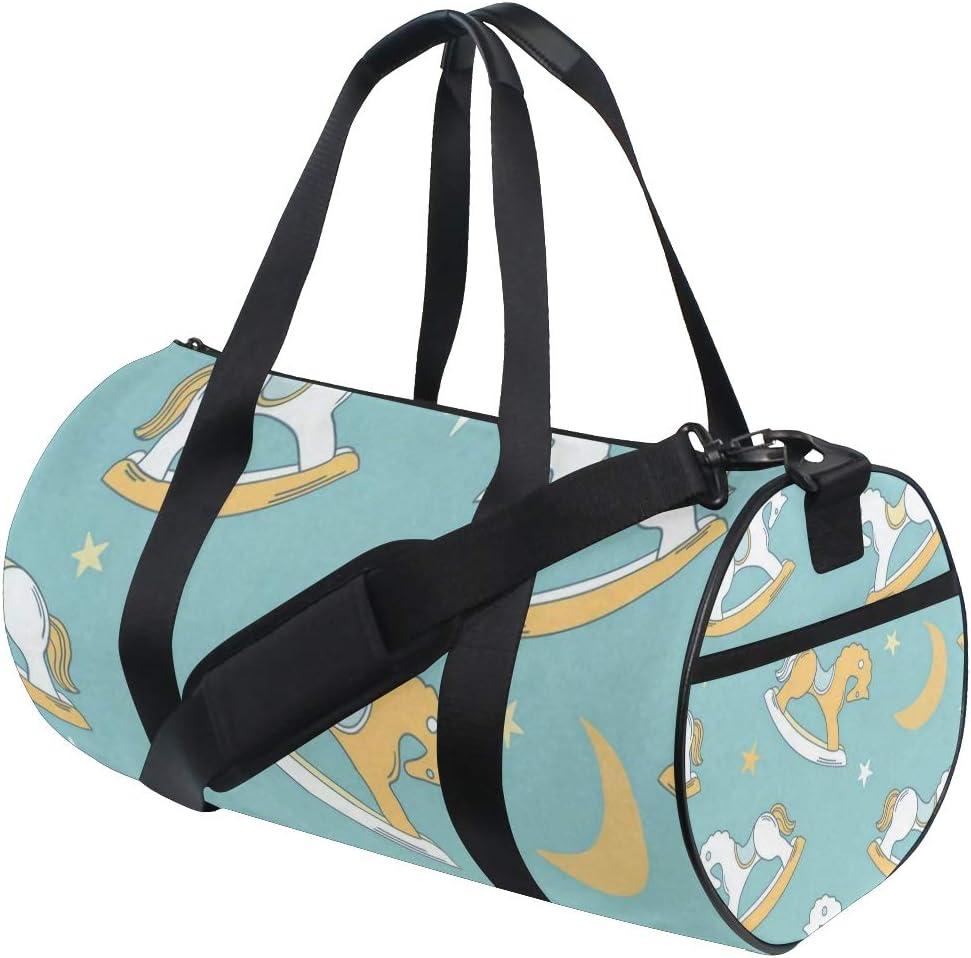 Gym Bag Vintage Rocking Horse Women Canvas Duffel Bag Cute Sports Bag for Girls