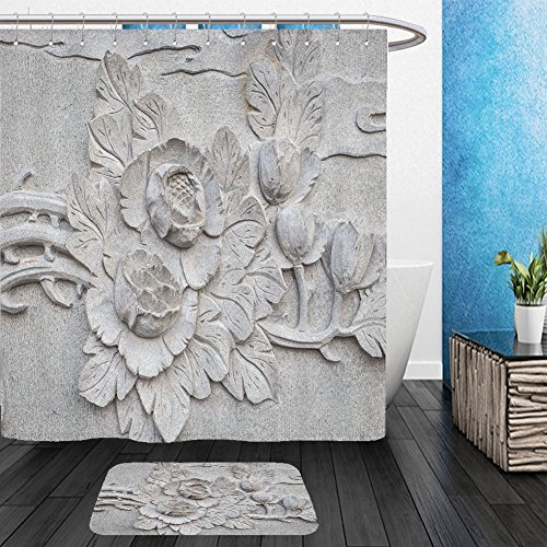 Vanfan Bathroom 2?Suits 1 Shower Curtains & ?1 Floor Mats close up granite carving in chinese temple 208830022 From Bath room (Superman Pumpkin Carving)