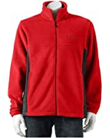 Columbia Men's Flattop Mountain Easy-Care Fleece Jacket, Red/Black