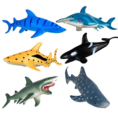 Shark Toys Figures,Ocean Animals,Plastic Sea Creatures,Kids Gifts,Zoo Animals,Aquatic Educational Toys,6 Piece: Toys & Games