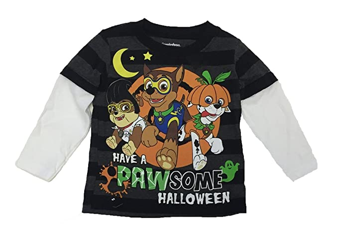 """31b42cf3 Paw Patrol Graphic T-shirt """"Have a Pawesome Halloween"""" Glow in the"""