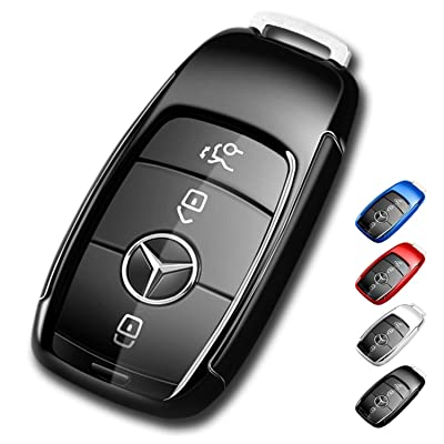 Mercedes Benz Key Fob Cover,Soft TPU Premium and Fashion Appearance Key Case Cover for Mercedes Benz E Class, 2020 up S Class, 2020 2020 W213 Keyless Smart Key (Benz Key Fob Cover-Black): Car Electronics