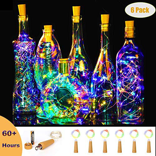 Jomilly Flashing Wine Bottle Lights, Colorful Mini String Lights, 60 Hours AAA Battery Operated 15 LED Fairy Light Cork Stopper Vase Light (Pack of 6)