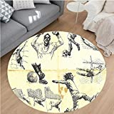 Nalahome Modern Flannel Microfiber Non-Slip Machine Washable Round Area Rug-of Different Soccer Player and Goalkeeper Positions Soccer Theme Sketch Art Yellow Black area rugs Home Decor-Round 75''