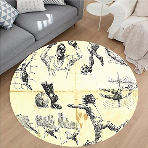 Nalahome Modern Flannel Microfiber Non-Slip Machine Washable Round Area Rug-of Different Soccer Player and Goalkeeper Positions Soccer Theme Sketch Art Yellow Black area rugs Home Decor-Round 79'' by Nalahome