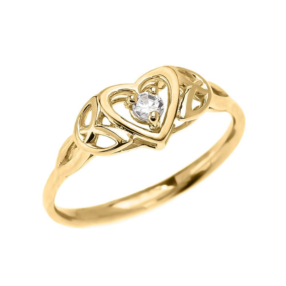 Dainty 10k Yellow Gold Trinity Knot Heart Solitaire White Topaz Engagement and Proposal Ring