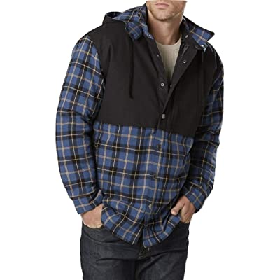 Craftsman Men's Hooded Shirt Jacket - Plaid Size Large Blue at Men's Clothing store
