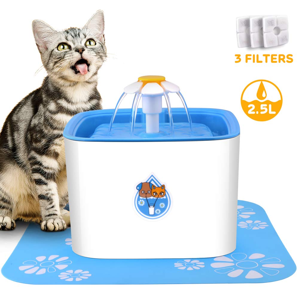 CCJK Cat Fountain, 2.5L Healthy and Hygienic Dog Water Dispenser,Ultra Quiet Pet Fountain with 3 Replacement Carbon Filters for Cats,Dogs,Birds and Small Animals