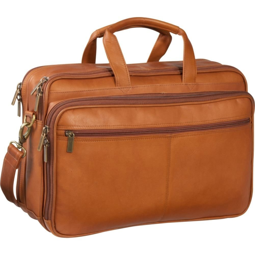 Le Donne Leather Two Compartment Computer Brief (Tan)