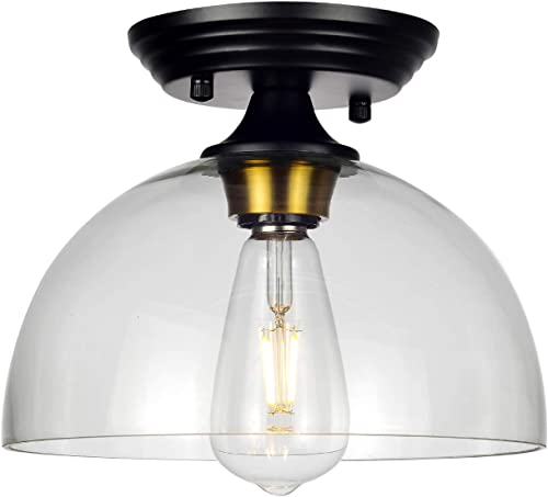 HMVPL Modern Close to Ceiling Lamp, Glass Semi Flush Mount Pendant Lighting Fixtures Industrial Edison Light for Kitchen Island Dining Room Foyer Hallway Entryway Farmhouse