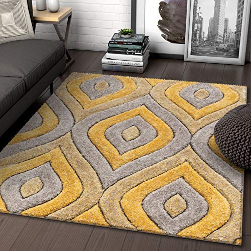 - Well Woven Moira Yellow Geometric Trellis Thick Soft Plush 3D Textured Shag Area Rug 8x10 (7'10