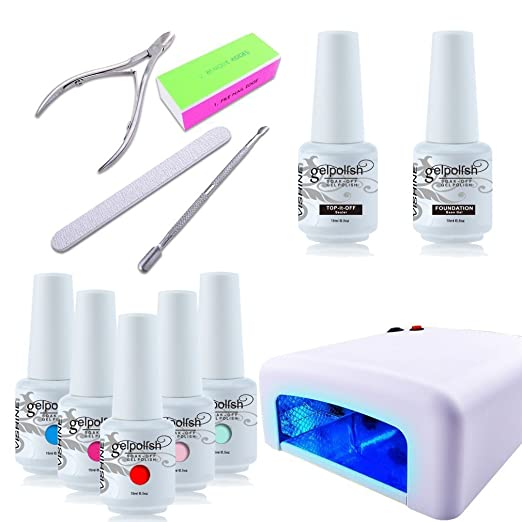 Vishine Gel Polish Nails (Pick Any 5 Colors) Soak Off + Top Base Coat + 36W UV Lamp + Cleanser Plus Manicure Tools Starter Kit