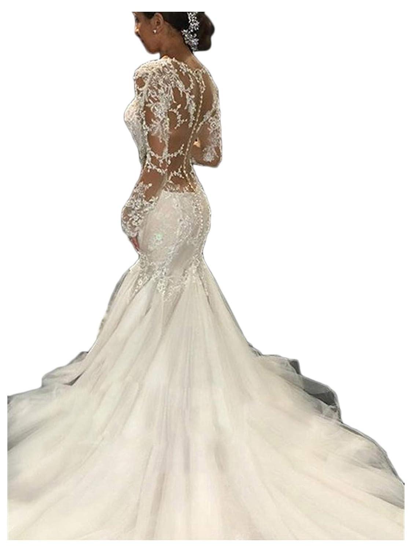 Annxrose Damen A-Linie 3//4-Arm Rundhals Appliques T/üll Hochzeitskleid Brautkleid