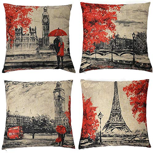 Homyall Eiffel Tower Big Ben Decorative Pillow Covers Square Cotton Linen Lovers Valentine's Day Throw Pillow Covers Set of 4 Pillow Covers 18x18 inch, 4 Packs (Eiffel Tower & Big Ben) (Valentines Day Throw Pillows)