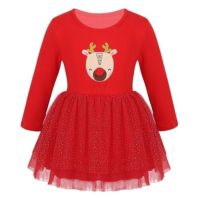 ranrann Vestido de Navidad Manga Larga para Bebé Niña ...