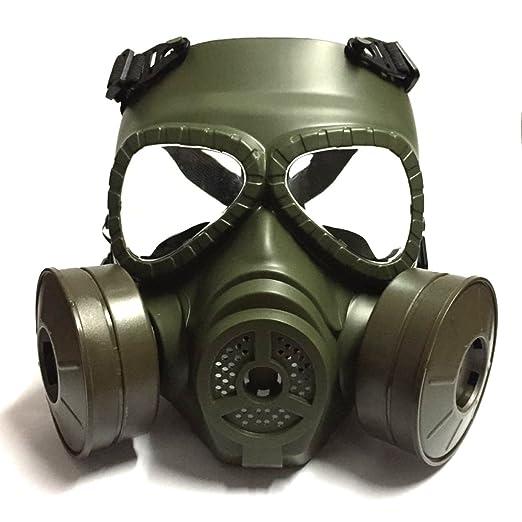 Táctico Máscara QMFIVE Dummy Anti Niebla Máscara de Gas M04 con Doble Ventilador Airsoft paintbal Protección Gear(Verde): Amazon.es: Deportes y aire libre