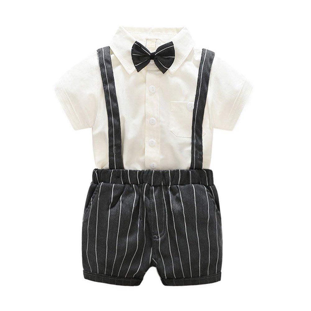 La Cabina Bébé Garçon Boy Vêtement Eté et Automne Ensemble de Costume Formel en 3 Pcs Luxueux Chemise + Short à Bretelles+Bowknot Cravate pour Soirée Cérémonie 145449