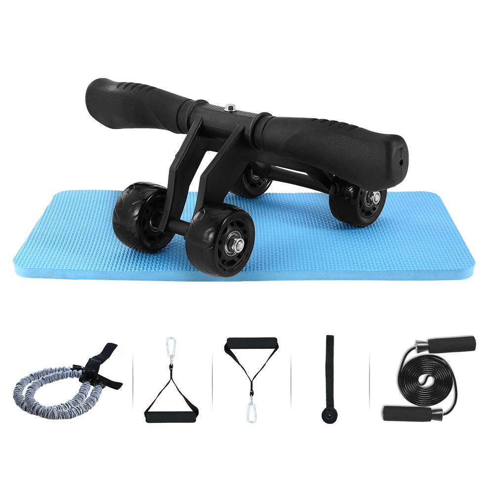 TOMSHOO 6-in-1 Ab Wheel Roller Kit, Ab Roller 4 Wheels with 2Pull Rope 50 LB Reinforced Handles Jump Rope Longer Knee Mat for Stretch Waist Abdominal Slimming Fitness in Home Office