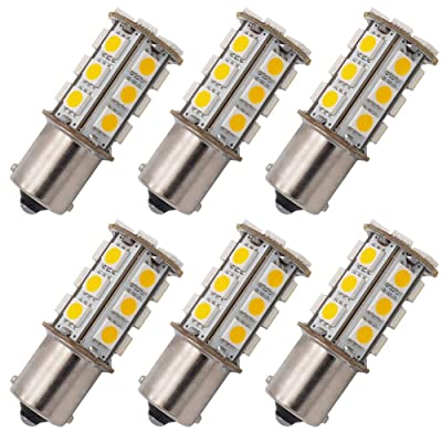 GRV Ba15s 1156 1141 High Bright Rv Car LED Bulb 24-5050SMD DC 12V Warm White Pack of 6: Automotive