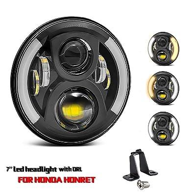 7 Inch LED Headlight 72W Round Black with Angel Eye Ring DRL & Amber Turn Signal Lights High Low Beam for Honda CB400 500 CB1300SF Hornet 250 600 900 VTR 250 CB900F: Automotive